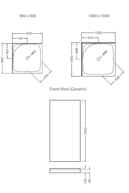 sapphire square corner sliding shower system 1000